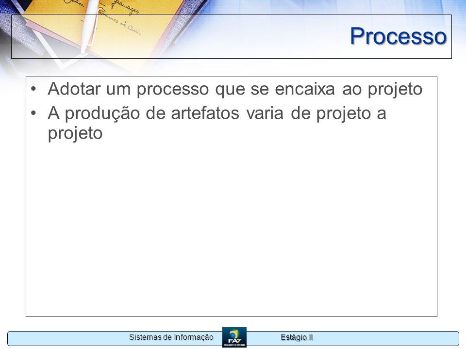 Estágio II Sistemas de Informação Processo Adotar um processo que se encaixa ao projeto A produção de artefatos varia de projeto a projeto