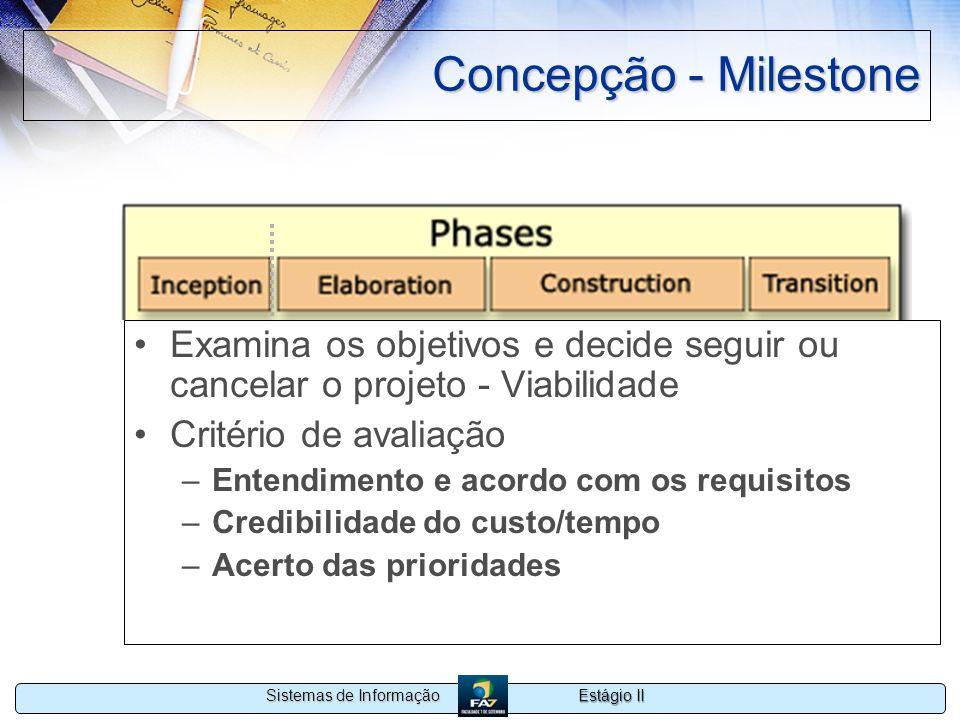 Estágio II Sistemas de Informação Concepção - Milestone Examina os objetivos e decide seguir ou cancelar o projeto - Viabilidade Critério de avaliação
