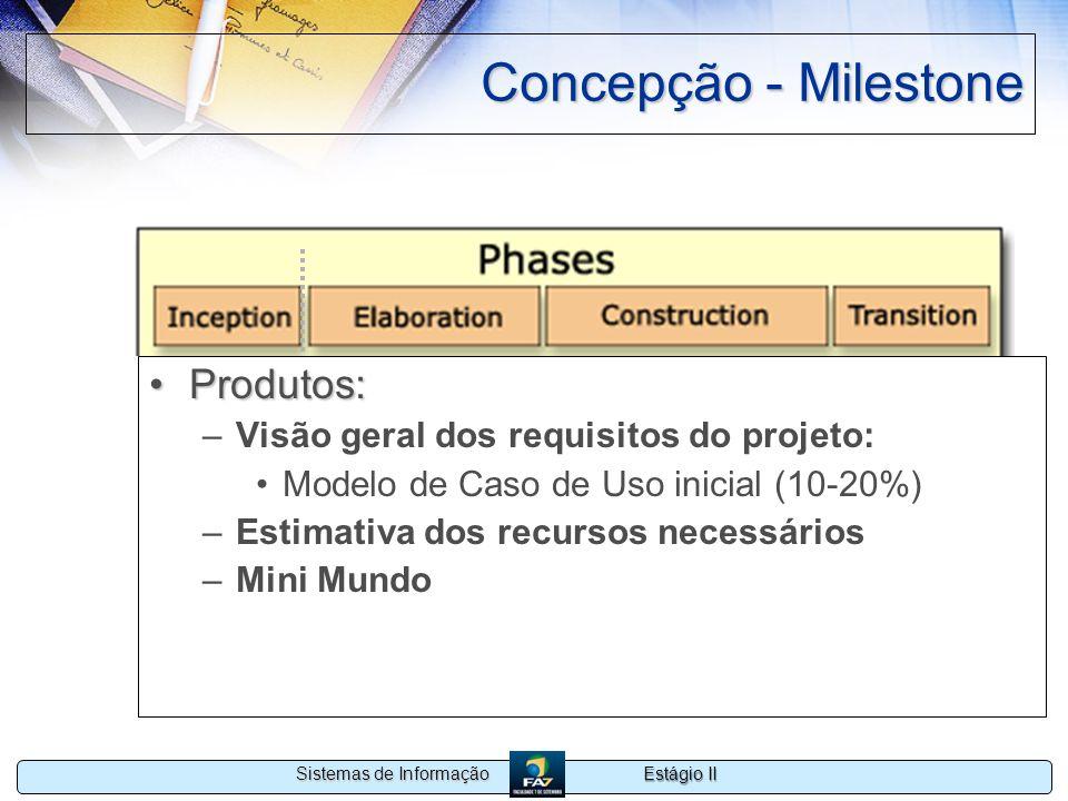 Estágio II Sistemas de Informação Concepção - Milestone Produtos:Produtos: –Visão geral dos requisitos do projeto: Modelo de Caso de Uso inicial (10-2