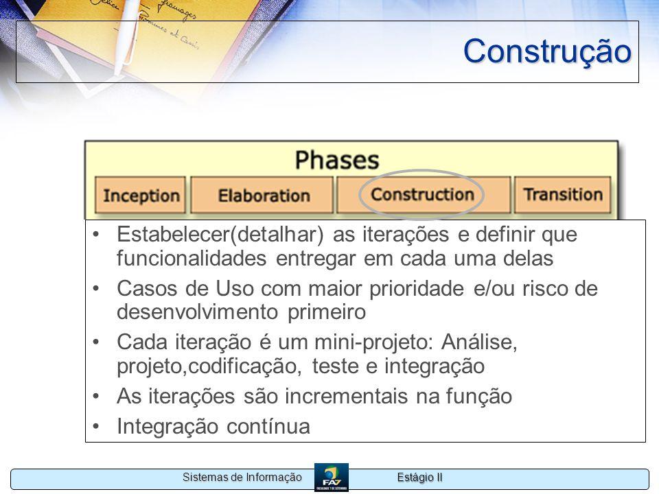 Estágio II Sistemas de Informação Construção Estabelecer(detalhar) as iterações e definir que funcionalidades entregar em cada uma delas Casos de Uso