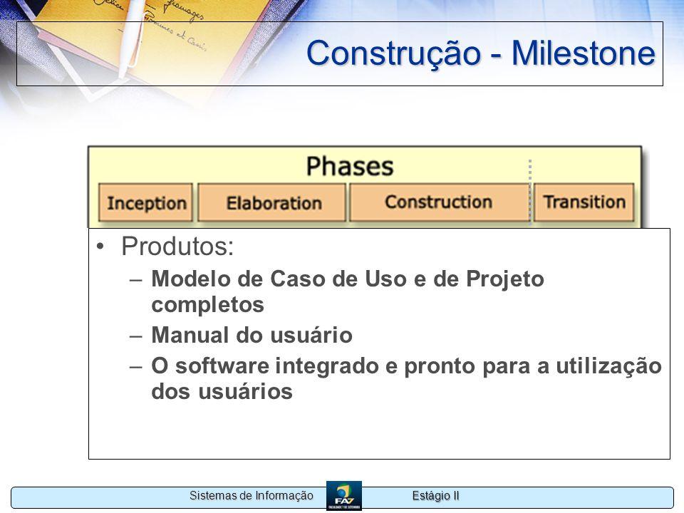 Estágio II Sistemas de Informação Construção - Milestone Produtos: –Modelo de Caso de Uso e de Projeto completos –Manual do usuário –O software integr