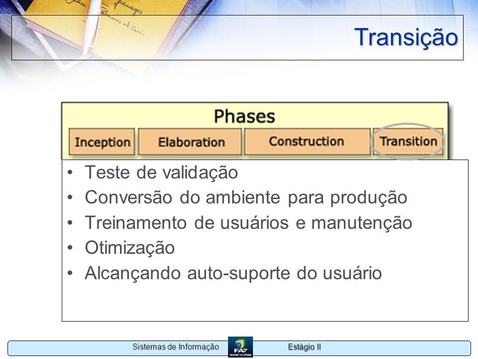 Estágio II Sistemas de Informação Transição Teste de validação Conversão do ambiente para produção Treinamento de usuários e manutenção Otimização Alc