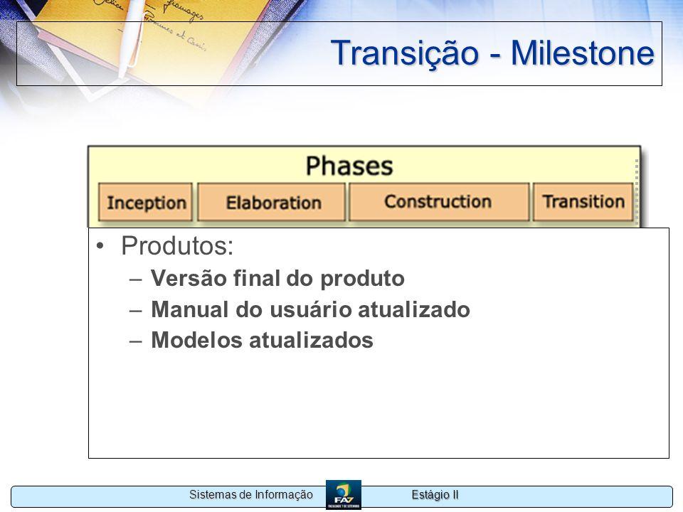 Estágio II Sistemas de Informação Transição - Milestone Produtos: –Versão final do produto –Manual do usuário atualizado –Modelos atualizados