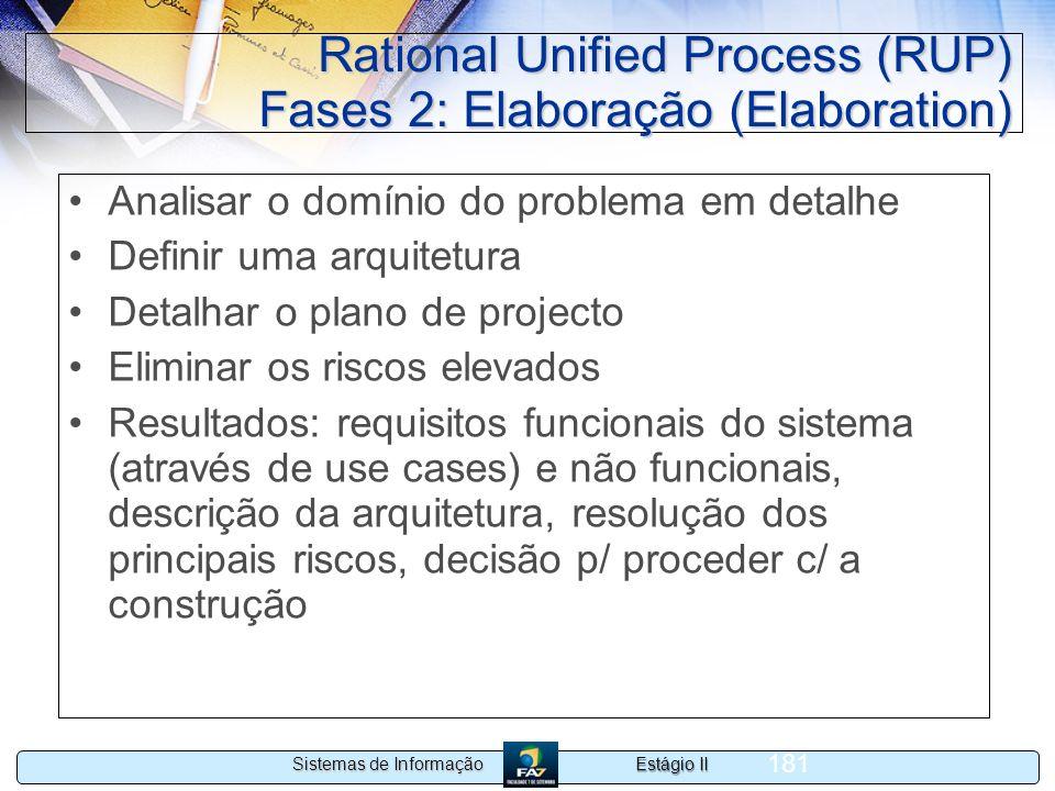 Estágio II Sistemas de Informação 181 Rational Unified Process (RUP) Fases 2: Elaboração (Elaboration) Analisar o domínio do problema em detalhe Defin