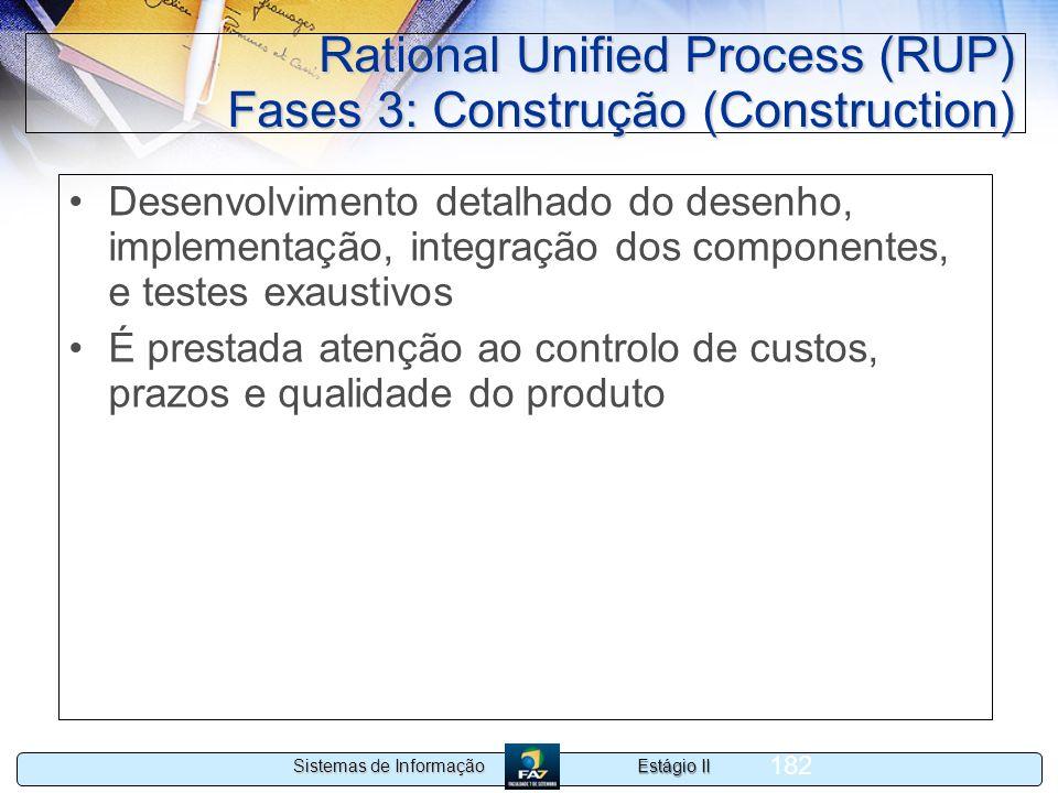 Estágio II Sistemas de Informação 182 Rational Unified Process (RUP) Fases 3: Construção (Construction) Desenvolvimento detalhado do desenho, implemen