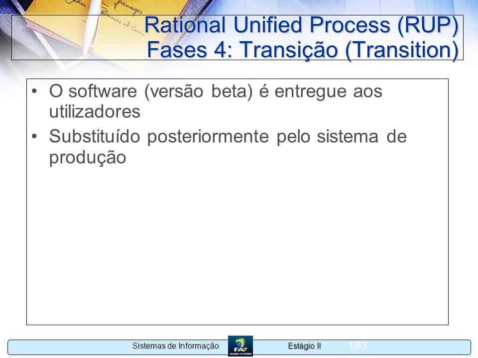 Estágio II Sistemas de Informação 183 Rational Unified Process (RUP) Fases 4: Transição (Transition) O software (versão beta) é entregue aos utilizado
