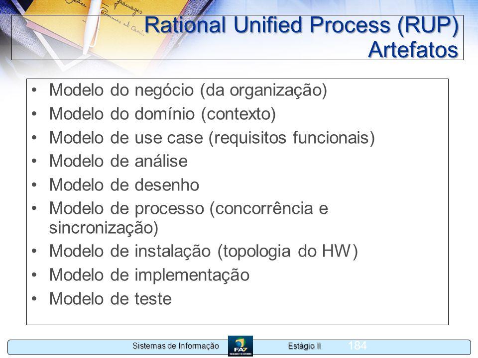 Estágio II Sistemas de Informação 184 Rational Unified Process (RUP) Artefatos Modelo do negócio (da organização) Modelo do domínio (contexto) Modelo