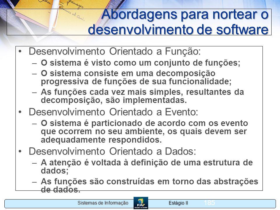 Estágio II Sistemas de Informação 185 Abordagens para nortear o desenvolvimento de software Desenvolvimento Orientado a Função: –O sistema é visto com