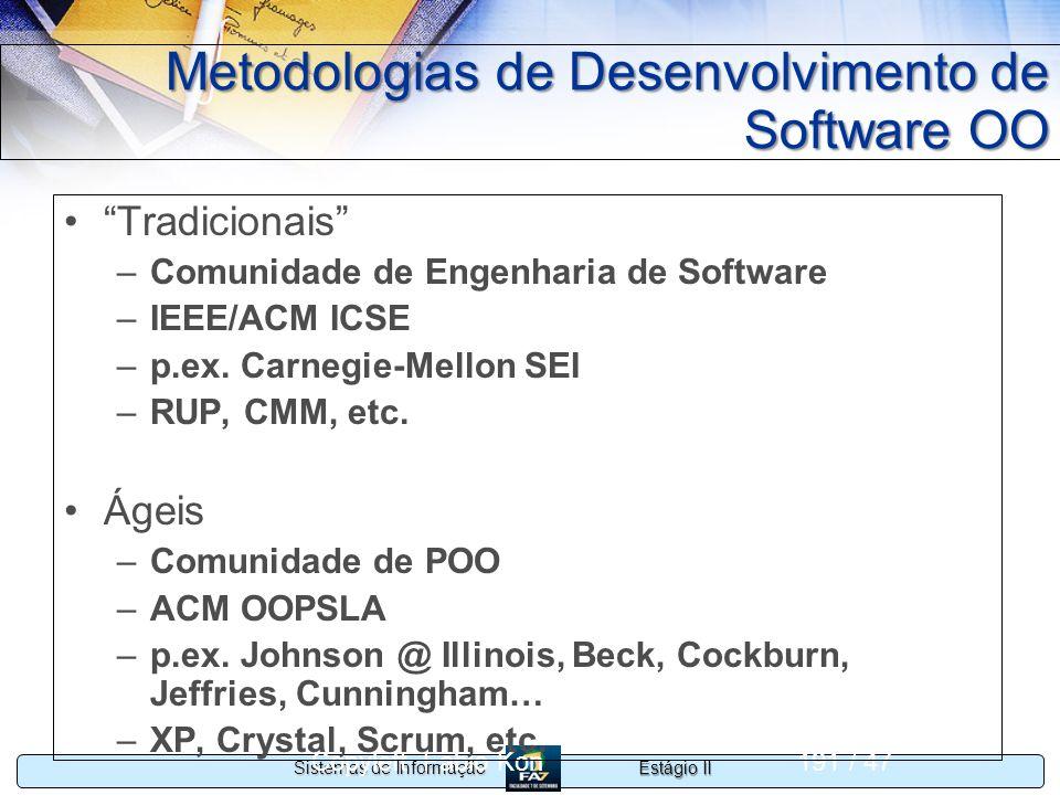 Estágio II Sistemas de Informação Copyleft Fabio Kon191 / 47 Metodologias de Desenvolvimento de Software OO Tradicionais –Comunidade de Engenharia de