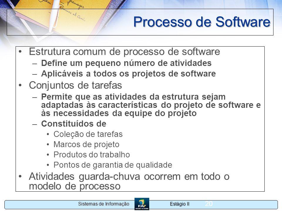 Estágio II Sistemas de Informação 20 Processo de Software Estrutura comum de processo de software –Define um pequeno número de atividades –Aplicáveis