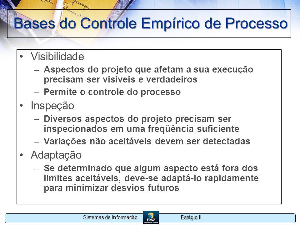 Estágio II Sistemas de Informação Bases do Controle Empírico de Processo Visibilidade –Aspectos do projeto que afetam a sua execução precisam ser visí
