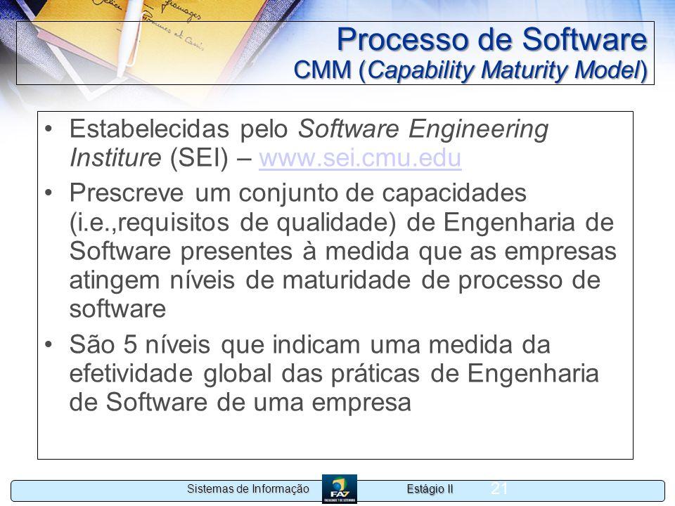 Estágio II Sistemas de Informação 21 Processo de Software CMM (Capability Maturity Model) Estabelecidas pelo Software Engineering Institure (SEI) – ww