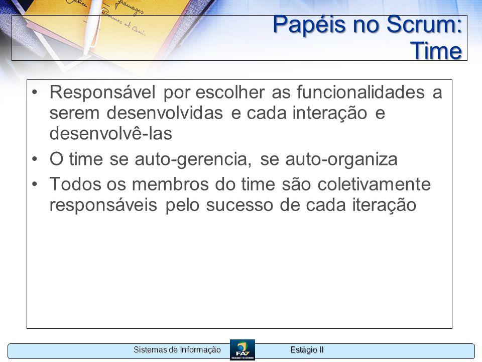 Estágio II Sistemas de Informação Papéis no Scrum: Time Responsável por escolher as funcionalidades a serem desenvolvidas e cada interação e desenvolv