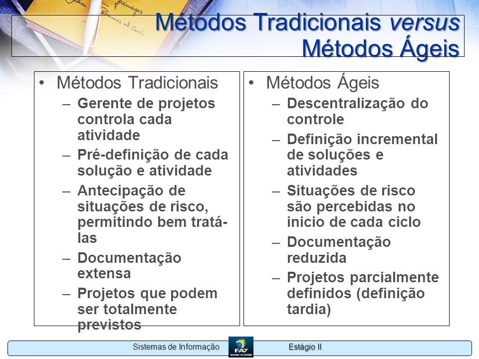 Estágio II Sistemas de Informação Métodos Tradicionais versus Métodos Ágeis Métodos Tradicionais –Gerente de projetos controla cada atividade –Pré-def