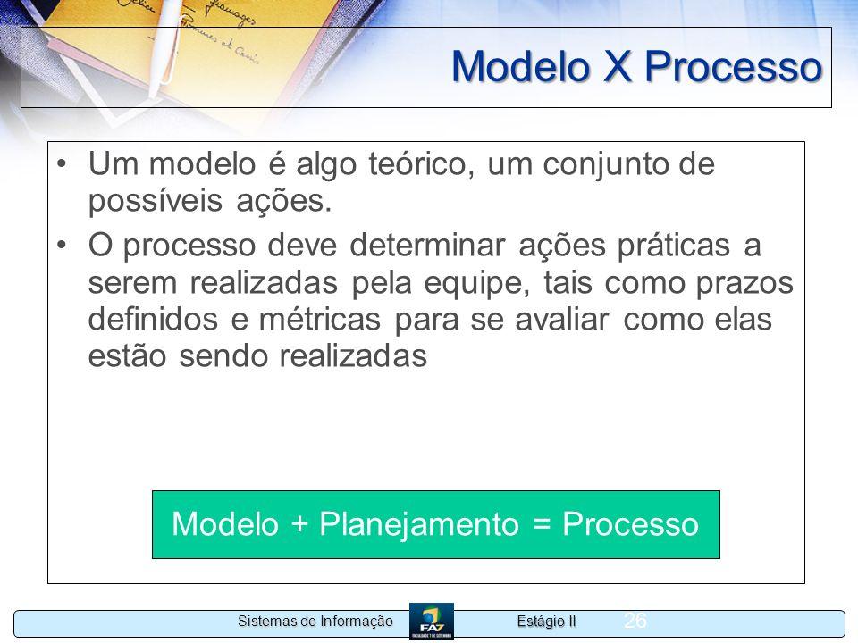 Estágio II Sistemas de Informação 26 Modelo X Processo Um modelo é algo teórico, um conjunto de possíveis ações. O processo deve determinar ações prát
