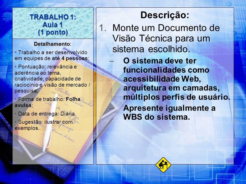 TRABALHO 1: Aula 1 (1 ponto) Descrição: 1.Monte um Documento de Visão Técnica para um sistema escolhido. –O sistema deve ter funcionalidades como aces