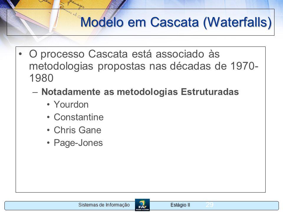 Estágio II Sistemas de Informação 29 Modelo em Cascata (Waterfalls) O processo Cascata está associado às metodologias propostas nas décadas de 1970- 1