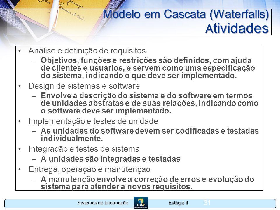 Estágio II Sistemas de Informação 31 Modelo em Cascata (Waterfalls) A tividades Análise e definição de requisitos –Objetivos, funções e restrições são