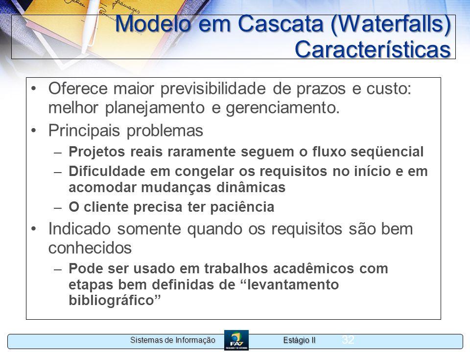 Estágio II Sistemas de Informação 32 Modelo em Cascata (Waterfalls) Características Oferece maior previsibilidade de prazos e custo: melhor planejamen