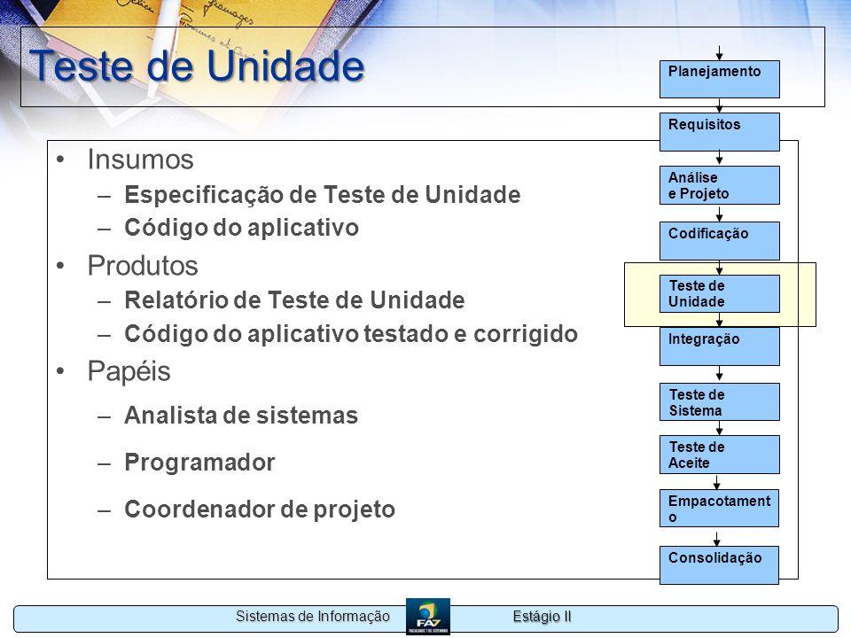 Estágio II Sistemas de Informação Teste de Unidade Insumos –Especificação de Teste de Unidade –Código do aplicativo Produtos –Relatório de Teste de Un