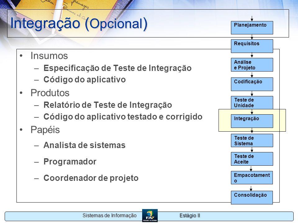 Estágio II Sistemas de Informação Integração ( Opcional ) Insumos –Especificação de Teste de Integração –Código do aplicativo Produtos –Relatório de T