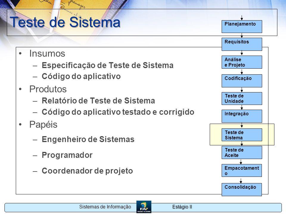 Estágio II Sistemas de Informação Teste de Sistema Insumos –Especificação de Teste de Sistema –Código do aplicativo Produtos –Relatório de Teste de Si