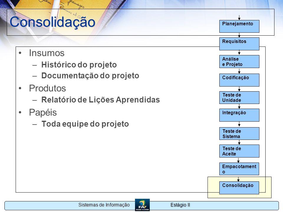 Estágio II Sistemas de Informação Consolidação Insumos –Histórico do projeto –Documentação do projeto Produtos –Relatório de Lições Aprendidas Papéis