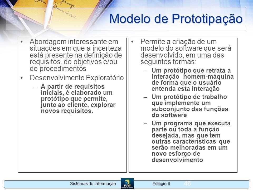 Estágio II Sistemas de Informação 46 Modelo de Prototipação Abordagem interessante em situações em que a incerteza está presente na definição de requi