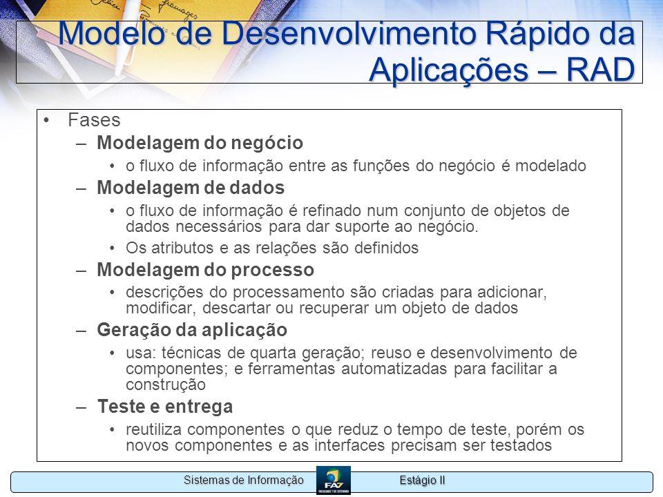 Estágio II Sistemas de Informação Modelo de Desenvolvimento Rápido da Aplicações – RAD Fases –Modelagem do negócio o fluxo de informação entre as funç