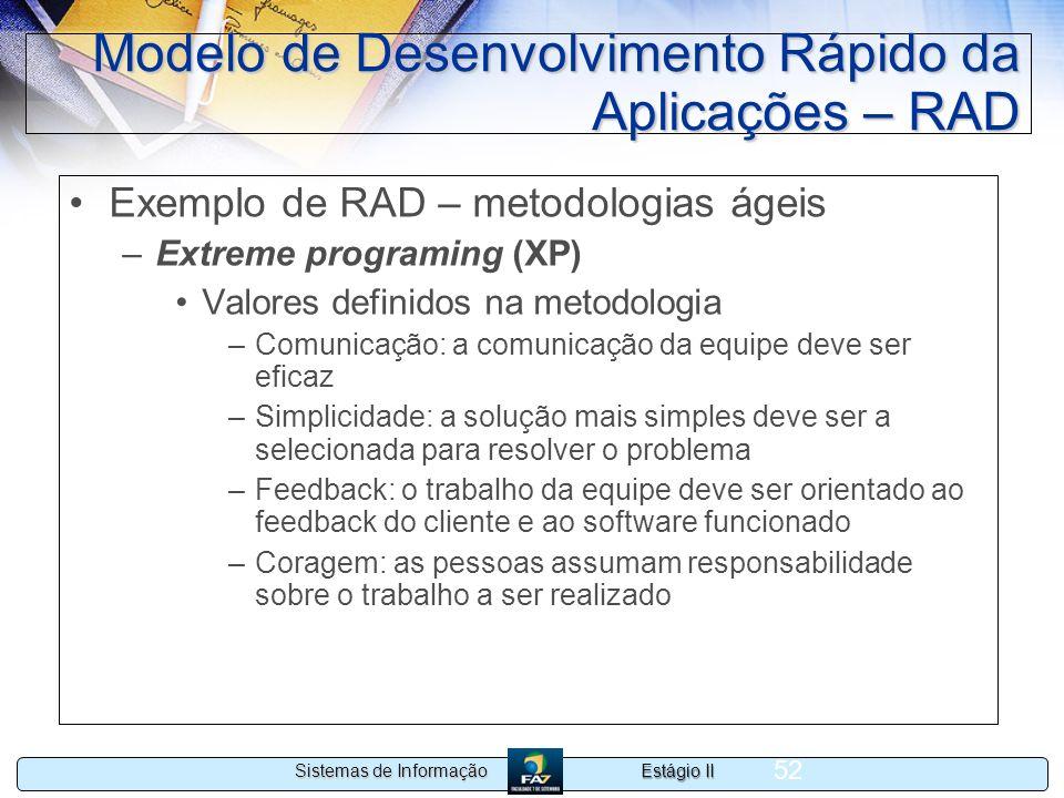 Estágio II Sistemas de Informação 52 Modelo de Desenvolvimento Rápido da Aplicações – RAD Exemplo de RAD – metodologias ágeis –Extreme programing (XP)