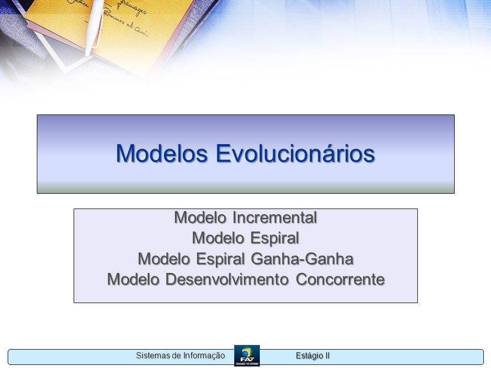 Estágio II Sistemas de Informação Modelos Evolucionários Modelo Incremental Modelo Espiral Modelo Espiral Ganha-Ganha Modelo Desenvolvimento Concorren