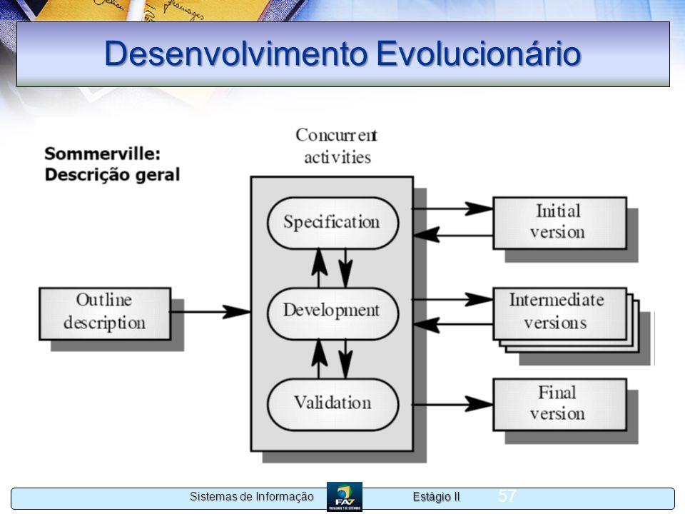 Estágio II Sistemas de Informação 57 Desenvolvimento Evolucionário