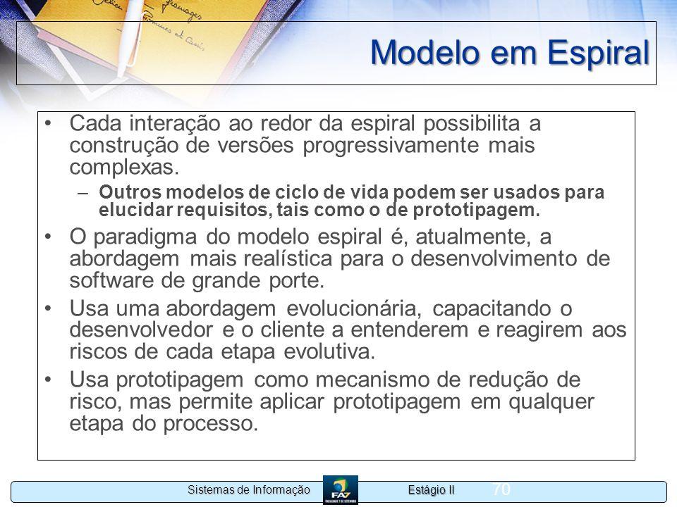 Estágio II Sistemas de Informação 70 Modelo em Espiral Cada interação ao redor da espiral possibilita a construção de versões progressivamente mais co