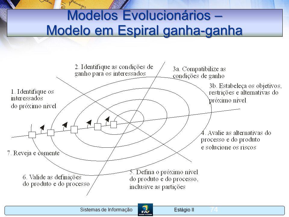Estágio II Sistemas de Informação 74 Modelos Evolucionários – Modelo em Espiral ganha-ganha