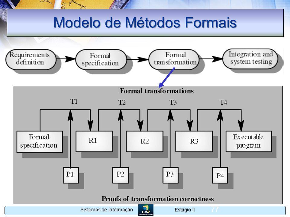 Estágio II Sistemas de Informação 77 Modelo de Métodos Formais