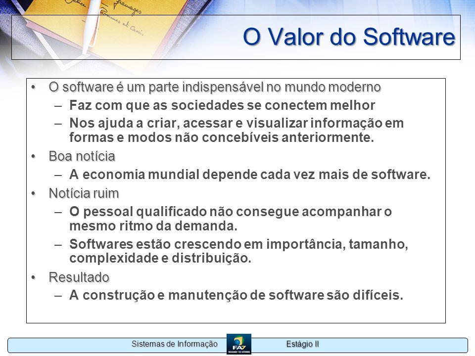 Estágio II Sistemas de Informação O Valor do Software O software é um parte indispensável no mundo modernoO software é um parte indispensável no mundo