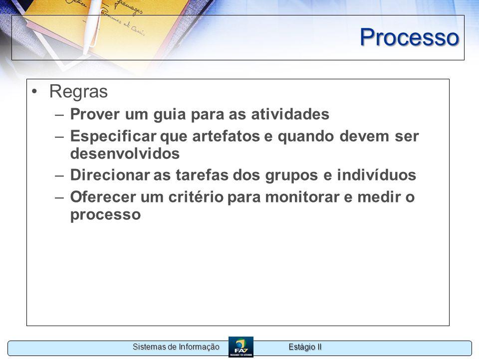 Estágio II Sistemas de Informação Processo Regras –Prover um guia para as atividades –Especificar que artefatos e quando devem ser desenvolvidos –Dire