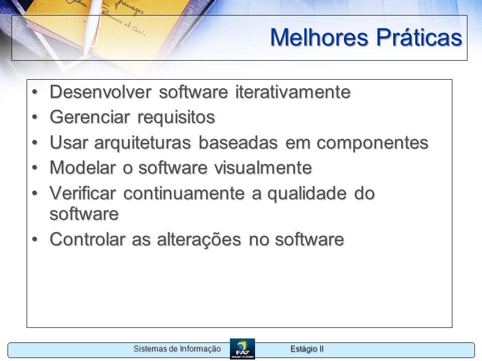 Estágio II Sistemas de Informação Melhores Práticas Desenvolver software iterativamenteDesenvolver software iterativamente Gerenciar requisitosGerenci