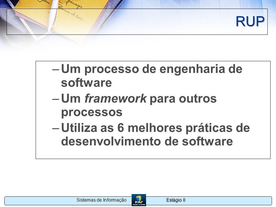 Estágio II Sistemas de Informação RUP –Um processo de engenharia de software –Um framework para outros processos –Utiliza as 6 melhores práticas de de