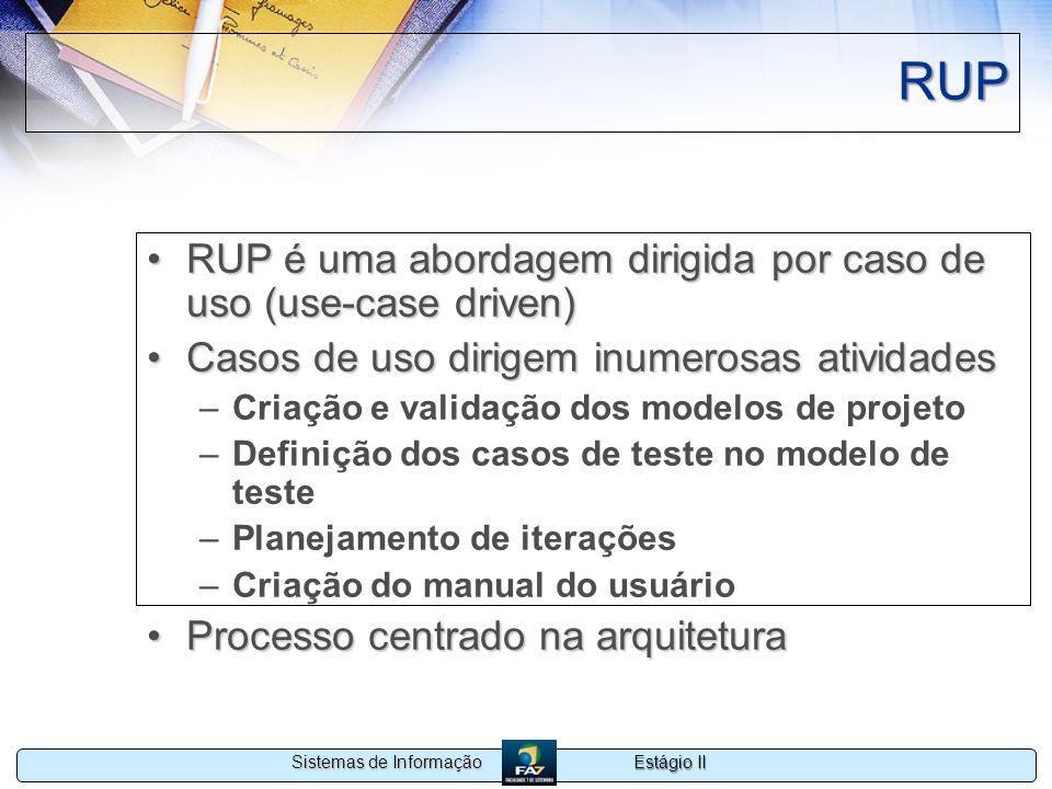 Estágio II Sistemas de Informação RUP RUP é uma abordagem dirigida por caso de uso (use-case driven)RUP é uma abordagem dirigida por caso de uso (use-