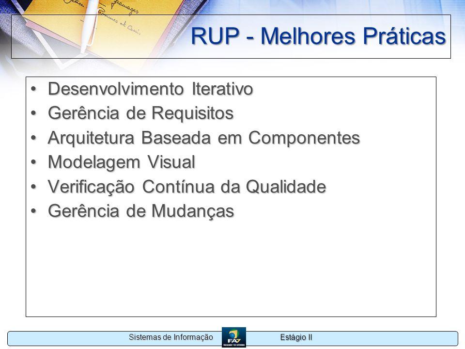 Estágio II Sistemas de Informação RUP - Melhores Práticas Desenvolvimento IterativoDesenvolvimento Iterativo Gerência de RequisitosGerência de Requisi