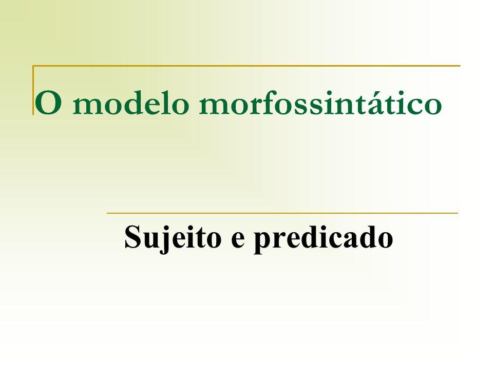 O modelo morfossintático Sujeito e predicado
