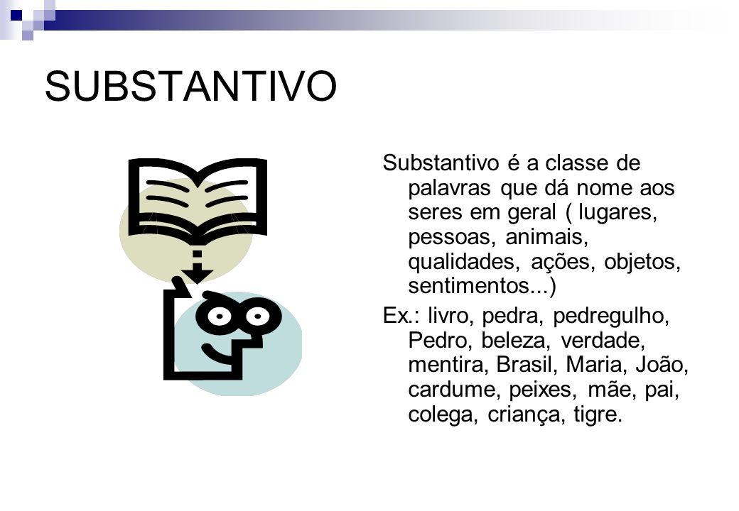 SUBSTANTIVO Substantivo é a classe de palavras que dá nome aos seres em geral ( lugares, pessoas, animais, qualidades, ações, objetos, sentimentos...)