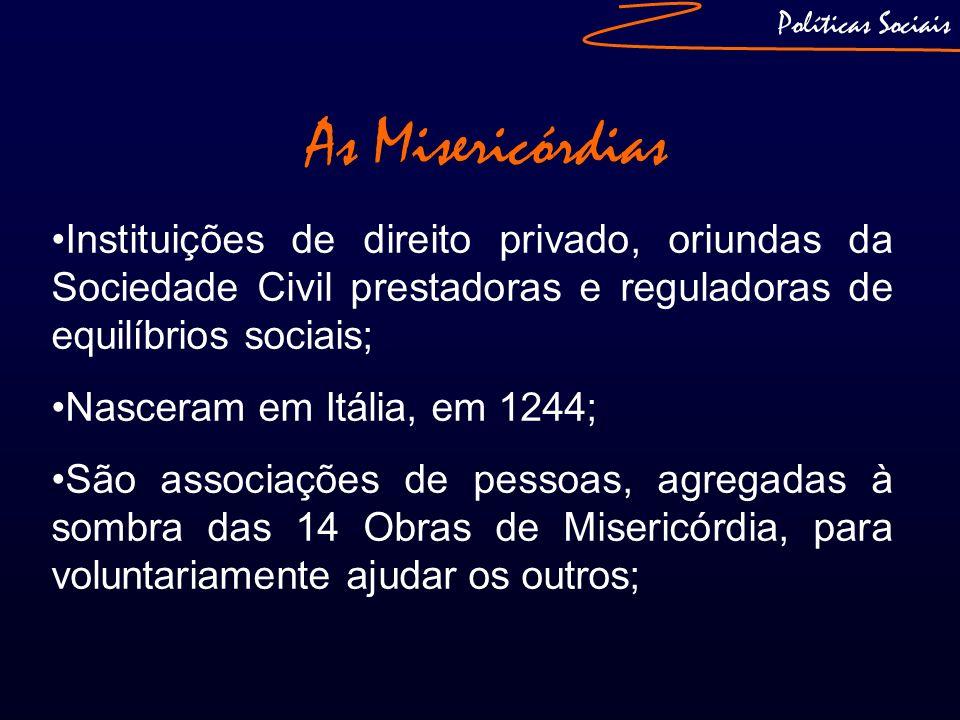 Políticas Sociais As Misericórdias Instituições de direito privado, oriundas da Sociedade Civil prestadoras e reguladoras de equilíbrios sociais; Nasc