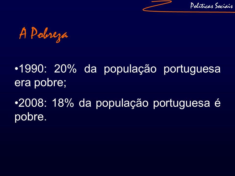 A Pobreza 1990: 20% da população portuguesa era pobre; 2008: 18% da população portuguesa é pobre. Políticas Sociais