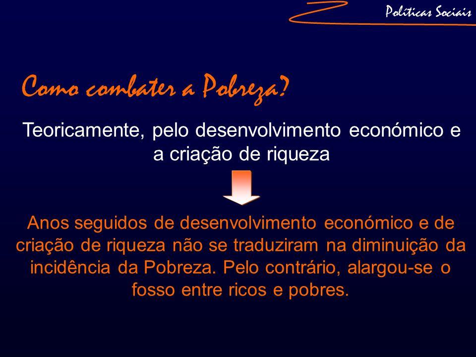 Como combater a Pobreza? Teoricamente, pelo desenvolvimento económico e a criação de riqueza Políticas Sociais Anos seguidos de desenvolvimento económ