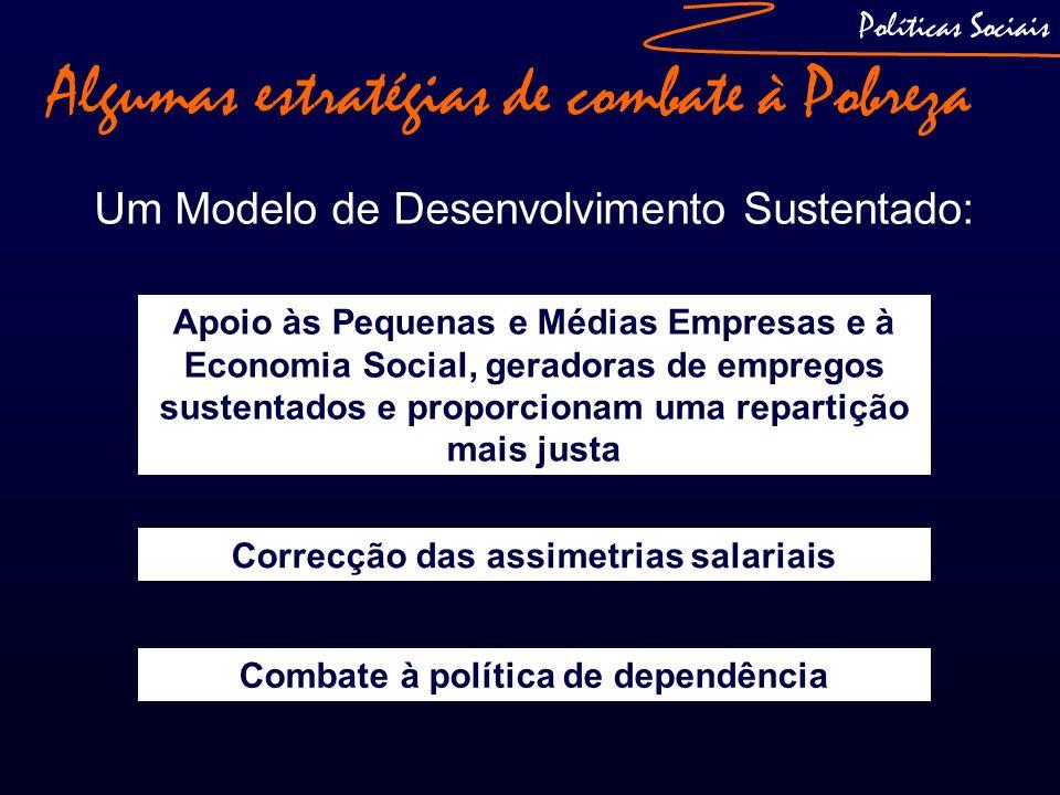 Algumas estratégias de combate à Pobreza Um Modelo de Desenvolvimento Sustentado: Políticas Sociais A função reguladora do Sector Social Correcção das