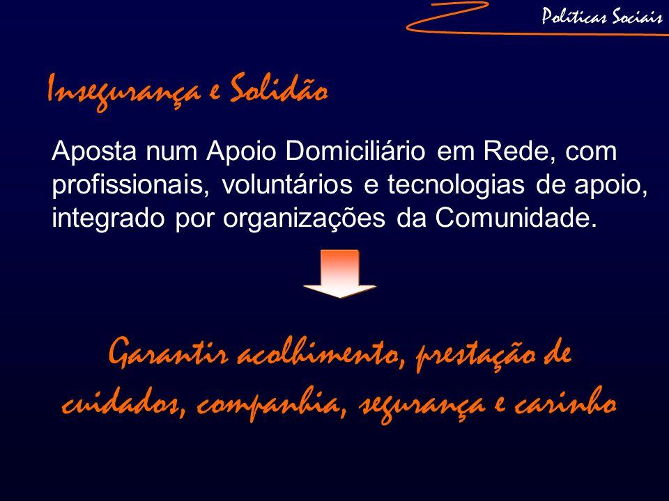 Políticas Sociais Insegurança e Solidão Aposta num Apoio Domiciliário em Rede, com profissionais, voluntários e tecnologias de apoio, integrado por or
