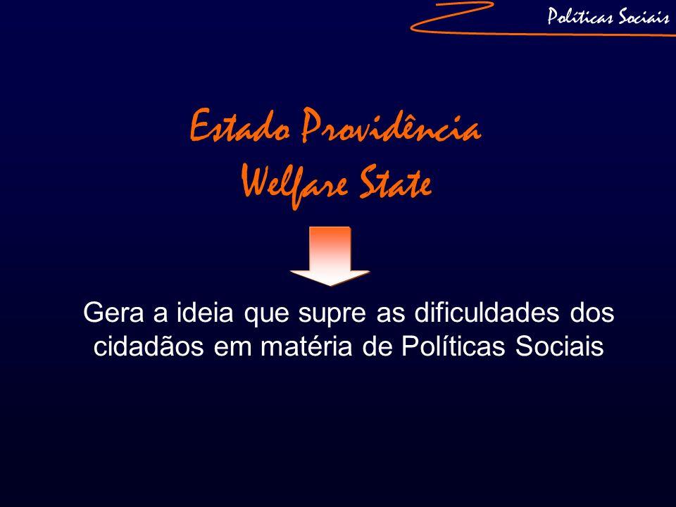 Políticas Sociais Estado Providência Welfare State Gera a ideia que supre as dificuldades dos cidadãos em matéria de Políticas Sociais