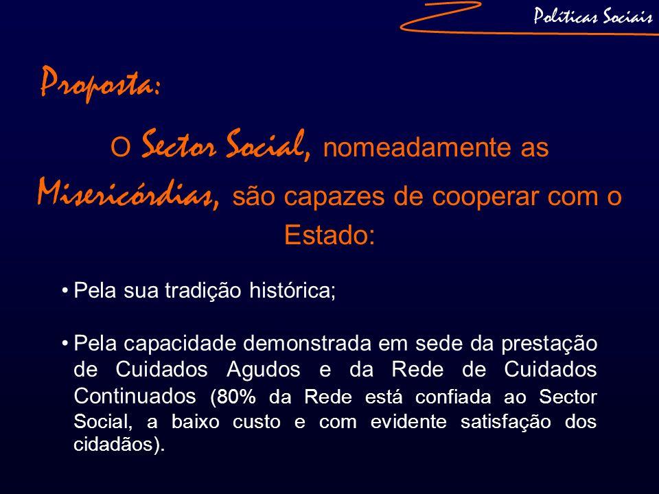 Políticas Sociais O Sector Social, nomeadamente as Misericórdias, são capazes de cooperar com o Estado: Pela sua tradição histórica; Pela capacidade d